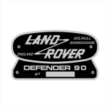 Land Rover Defender 90 Retro Typenschild (Stk.)